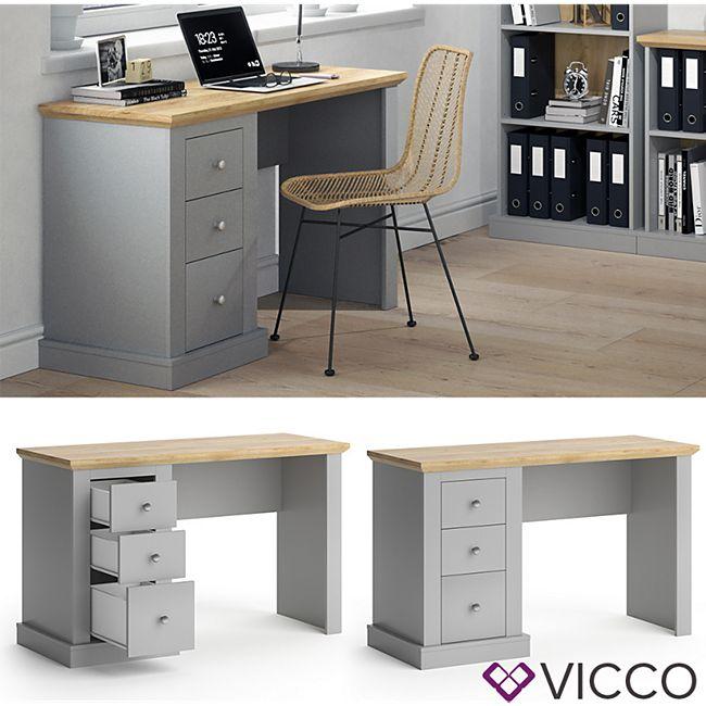 Vicco Schreibtisch Cambridge grau 3 Schubladen Computertisch PC-Tisch Bürotisch - Bild 1