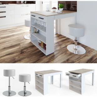 Vicco Bartisch Repose Stehtisch Loungetisch Tresentisch Tisch Küchentisch Regal mit Barhocker - Bild 1