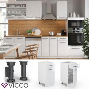 VICCO Schubunterschrank 40 cm Weiß Küchenzeile Unterschrank Fame - Bild 1