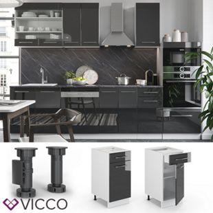 VICCO Schubunterschrank 40 cm Anthrazit Küchenzeile Unterschrank Fame - Bild 1