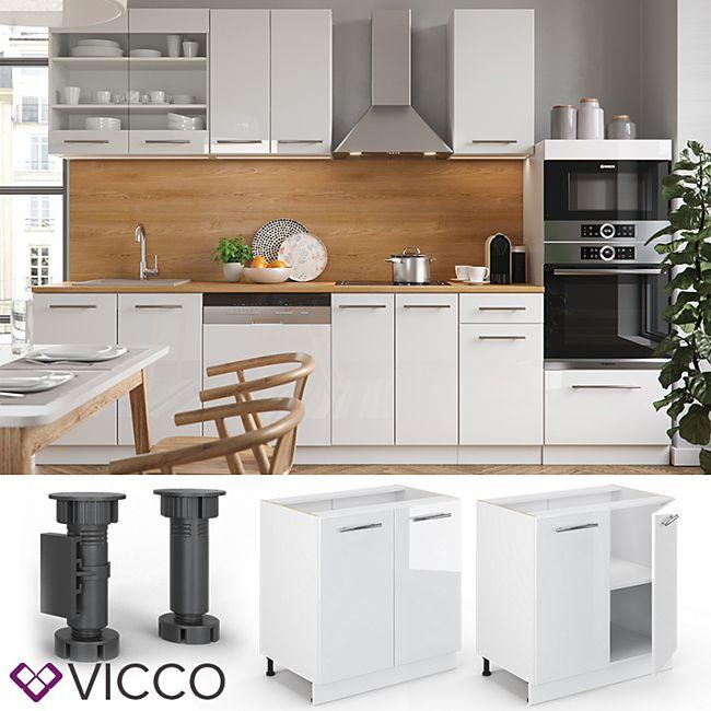 VICCO Unterschrank 80 cm Weiß Küchenzeile Unterschrank Fame - Bild 1