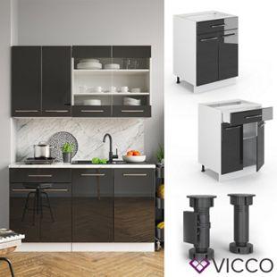 VICCO Schubunterschrank 60 cm Anthrazit Küchenzeile Unterschrank Fame - Bild 1