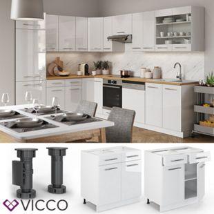 VICCO Schubunterschrank 80 cm Weiß Küchenzeile Unterschrank Fame - Bild 1