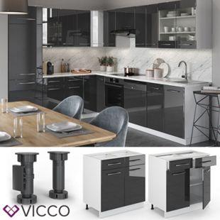 VICCO Schubunterschrank 80 cm Anthrazit Küchenzeile Unterschrank Fame - Bild 1