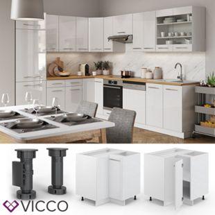 VICCO Eckunterschrank 87 cm Weiß Küchenzeile Unterschrank Fame - Bild 1