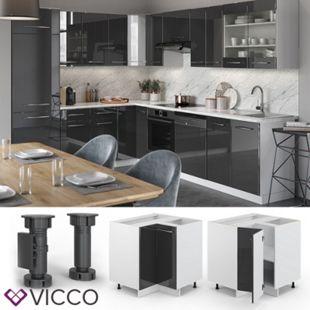 VICCO Eckunterschrank 87 cm Anthrazit Küchenzeile Unterschrank Fame - Bild 1