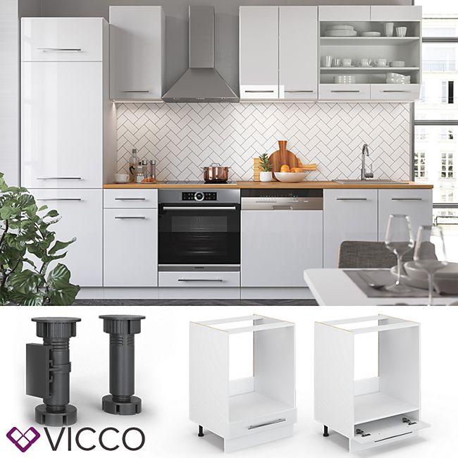 VICCO Herdumbauschrank 60 cm Weiß Küchenzeile Unterschrank Fame - Bild 1