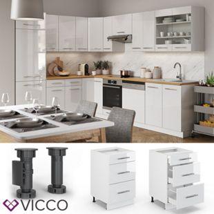 VICCO Schubunterschrank 50 cm Weiß Küchenzeile Unterschrank Fame - Bild 1
