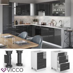 VICCO Schubunterschrank 50 cm Anthrazit Küchenzeile Unterschrank Fame - Bild 1
