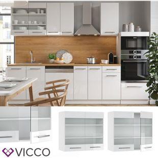 VICCO Hängeglasschrank 80 cm Weiß Küchenzeile Unterschrank Fame - Bild 1