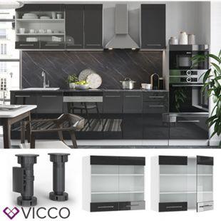 VICCO Hängeglasschrank 80 cm Anthrazit Küchenzeile Unterschrank Fame - Bild 1