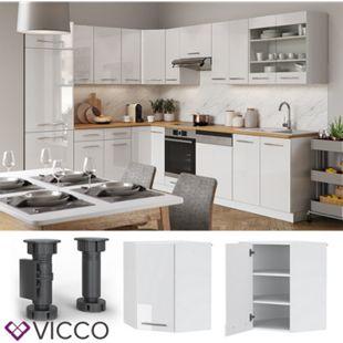 VICCO Eckhängeschrank 57 cm Weiß Küchenzeile Unterschrank Fame - Bild 1