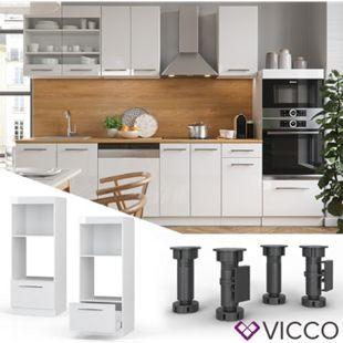 VICCO Mikrowellenumbauschrank 60 cm Weiß Küchenzeile Unterschrank Fame - Bild 1