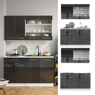 Vicco Küchenzeile Single Einbauküche 140 cm Küchen Hochglanz Fame-Line - Bild 1