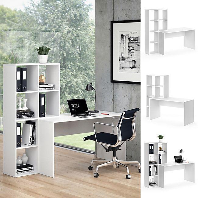 Vicco Schreibtisch mit Regal Mara Weiß Raumteiler Computertisch Arbeitstisch - Bild 1