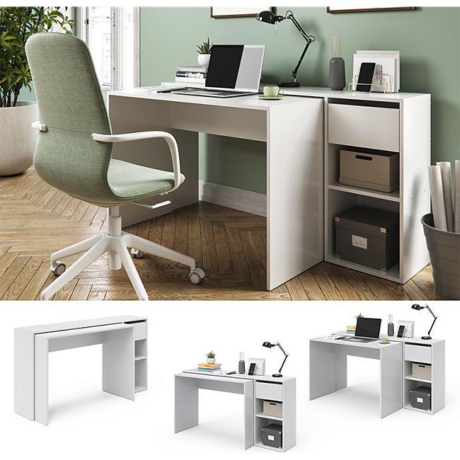 Vicco Schreibtisch Ben Weiß Computertisch ausziehbar Arbeitstisch Bürotisch - Bild 1