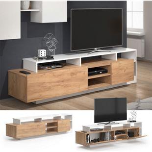 Vicco Lowboard Linnea Sideboard Weiß Gold Craft Oak Fernsehtisch TV Board Tisch - Bild 1