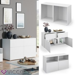 VICCO Schrank COMPO M3 weiß Regal Aktenschrank Bücherregal Standregal Büro - Bild 1