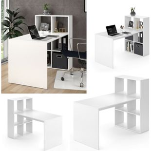 Vicco Schreibtisch Emir weiß Computertisch mit Ablage Regal Raumteiler Bürotisch - Bild 1