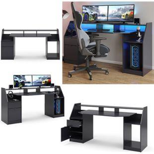 Vicco Computertisch Joel Groß PC-Tisch Schwarz Gamingtisch Schreibtisch Büromöbel - Bild 1