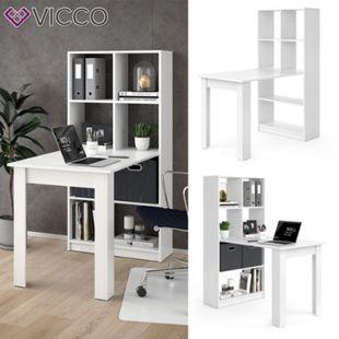 Vicco Schreibtisch Gael weiß Computertisch mit Ablage Regal Raumteiler Bürotisch - Bild 1