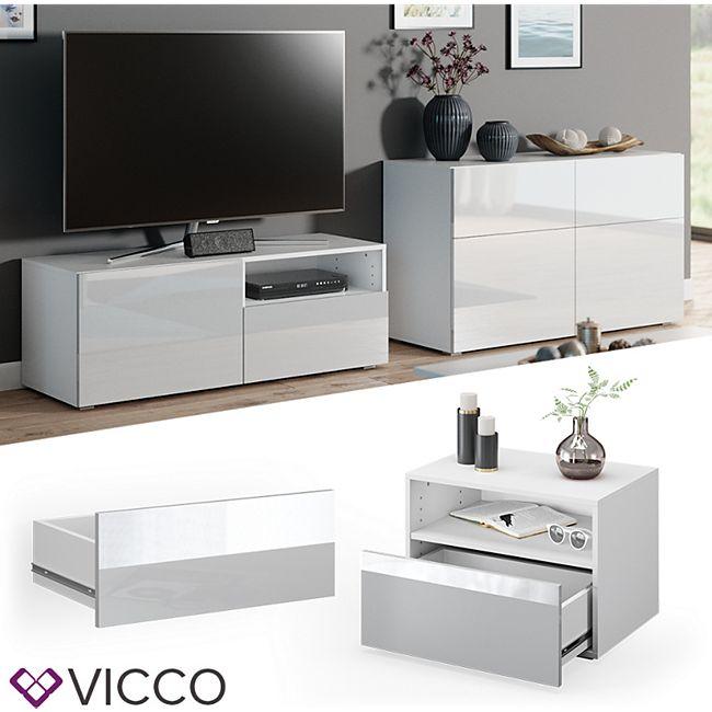 VICCO Schublade COMPO M12 weiß/weiß hochglanz Klein Aktenschrank Bücherregal - Bild 1