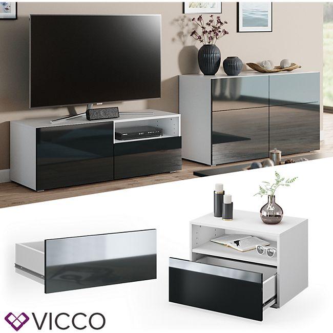 VICCO Schublade COMPO M12 weiß/anthrazit hochglanz Klein Aktenschrank Bücherregal - Bild 1