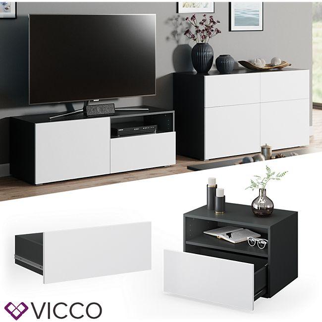 VICCO Schublade COMPO M12 anthrazit/weiß Klein Aktenschrank Bücherregal - Bild 1