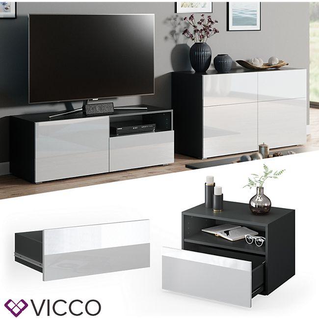 VICCO Schublade COMPO M12 anthrazit/weiß hochglanz Klein Aktenschrank Bücherregal - Bild 1