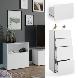 VICCO Schublade COMPO M13 weiß/weiß Groß Aktenschrank Bücherregal - Bild 1