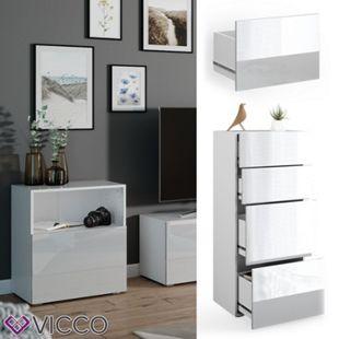 VICCO Schublade COMPO M13 weiß/weiß hochglanz Groß Aktenschrank Bücherregal - Bild 1
