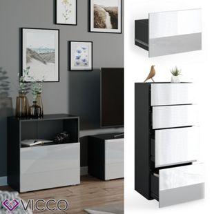 VICCO Schublade COMPO M13 anthrazit/weiß hochglanz Groß Aktenschrank Bücherregal - Bild 1