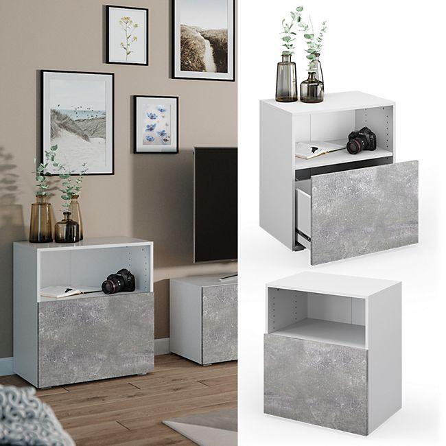 VICCO Schrank COMPO Schubladenschrank Aktenschrank Büro Wohnzimmer weiß beton - Bild 1