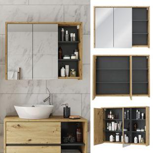 Vicco Spiegelschrank Viola Eiche Badschrank Badspiegel 2 Türen mit Ablagen Badmöbel - Bild 1
