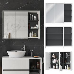 Vicco Spiegelschrank Viola Weiß Badschrank Badspiegel 2 Türen mit Ablagen Badmöbel - Bild 1