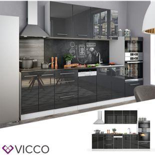 Vicco Küche Fame-Line Küchenzeile Küchenblock Einbauküche 295cm Anthrazit Hochglanz - Bild 1