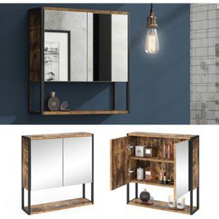 Vicco Spiegelschrank Fyrk Vintage Badschrank Badmöbel Badspiegel mit Ablagen - Bild 1