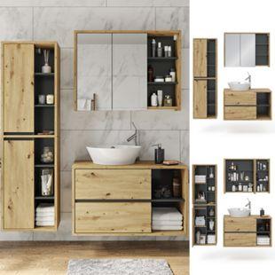 Vicco Badmöbel Set Viola Eiche Spiegelschrank Hochschrank Waschtischunterschrank - Bild 1