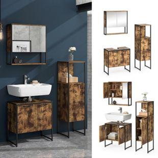 Vicco Loft Badmöbel Set Fyrk Vintage Spiegelschrank Midischrank Waschtischunterschrank - Bild 1