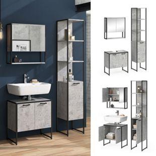 Vicco Loft Badmöbel Set Fyrk Beton Spiegelschrank Hochschrank Waschtischunterschrank - Bild 1