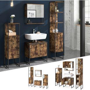Vicco Loft Badmöbel Set Fyrk Vintage Spiegelschrank Badschränke Waschtischunterschrank - Bild 1