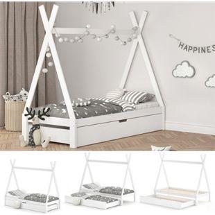 VitaliSpa Kinderbett Tipi Hausbett Weiß Bett Kinderhaus Zelt Bett Schublade 90x200cm inklusive Bettschublade - Bild 1