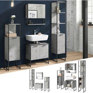 Vicco Loft Badmöbel Set Fyrk Beton Spiegelschrank Badschränke Waschtischunterschrank - Bild 1