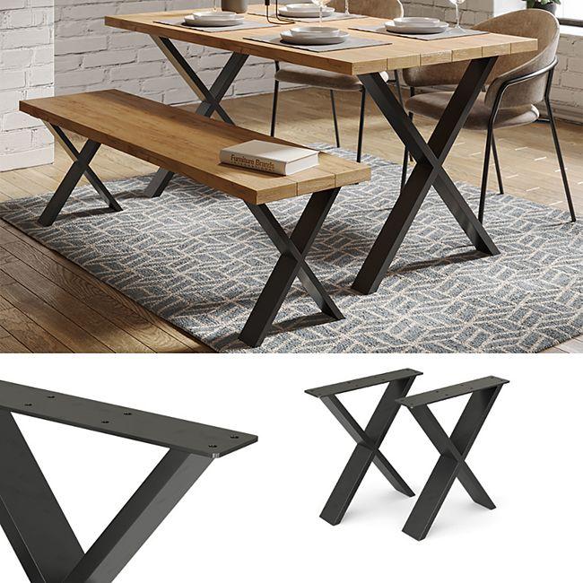 Vicco Loft Tischkufen X-Form 42cm Tischbeine Tischgestell Couchtisch Möbelfüße - Bild 1