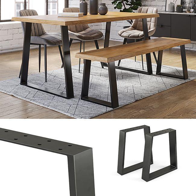 Vicco Loft Tischkufen Trapez 42cm Tischbeine Tischgestell Couchtisch Möbelfüße - Bild 1