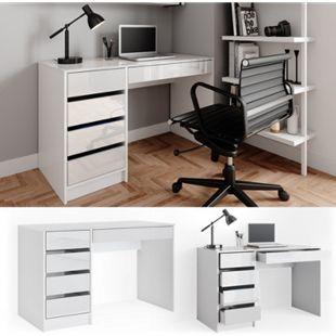 Vicco Schreibtisch Sherry weiß hochglanz Bürotisch Computertisch 5 Schubladen - Bild 1