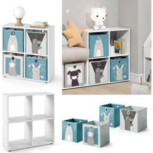 Vicco Kinderregal 4 Fächer inklusive Kinder Faltboxen Bücherregal Aufbewahrungsregal Spielzeug - Bild 1