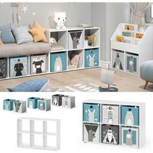 Vicco Kinderregal 6 Fächer inklusive Kinder Faltboxen Bücherregal Aufbewahrungsregal Spielzeug - Bild 1