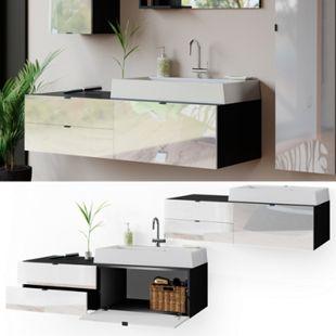 Vicco Waschtisch mit Waschbecken Bora hängend Waschbeckenunterschrank Badschrank - Bild 1