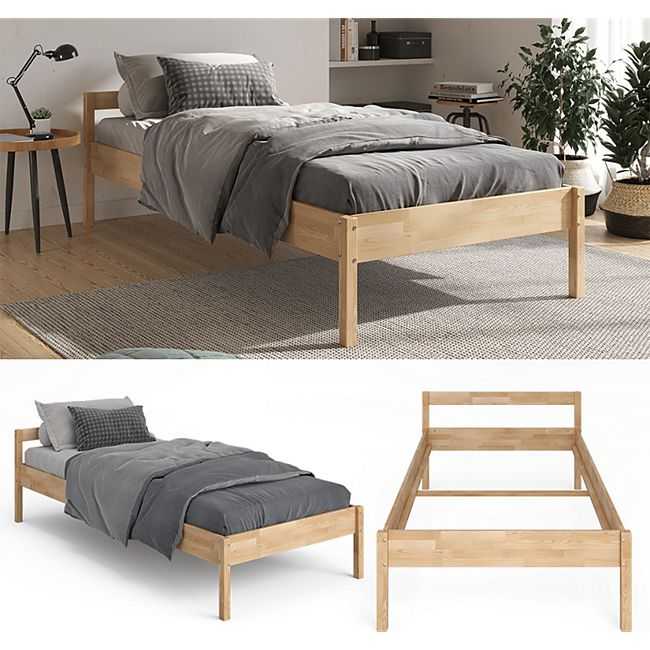 VitaliSpa Bettgestell Holzbett 90x200cm Lorenzo Einzelbett mit Kopfteil Bett Holz - Bild 1